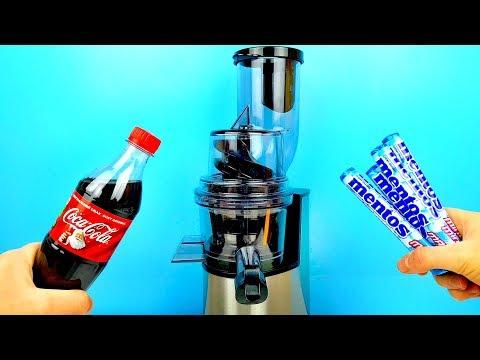 Что если Выжать сок из Mentos и добавить Coca-Cola ? /Сломается ли Соковыжималка ?