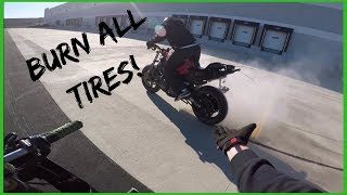 How To: ROLLING BURNOUTS on ANY Motorcycle!? (Stunt School)