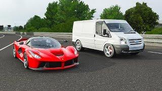Forza 7 Drag Race | Ford Transit Van ( ͡° ͜ʖ ͡°) vs Ferrari LaFerrari | rolling/standing!