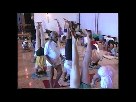 B.K.S. Iyengar Shows Fingers in Headstand