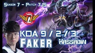 SKT T1 Faker KASSADIN vs SYNDRA Mid - Patch 7.15 KR Ranked