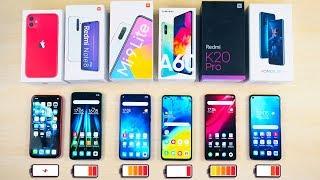 Battery Drain Test! iPhone 11, Redmi Note 8 Pro, Xiaomi Mi 9 Lite, Mi 9T Pro, Galaxy A60, Honor 20