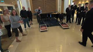 Officers vs Guests Corn Hole Competetion on the Viking Orion