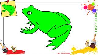 How to draw a frog 3 EASY & SLOWLY step by step for kids and beginners
