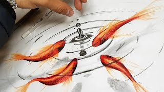 Como dibujar peces dentro del agua  –how to draw fish - Arte Orta