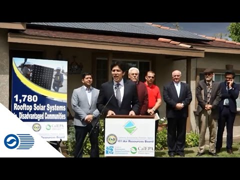 Fresno, CA press conference - solar panels on low-income home