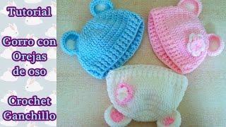DIY Como hacer un gorro crochet ganchillo bebe con orejas de oso