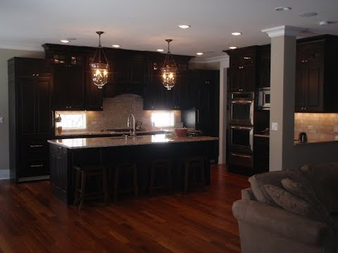 Espresso Kitchen Cabinets with Wood Floors