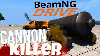 BeamNG Drive - Shooting Cars With Cannons - New Cannon Vehicle Crashes