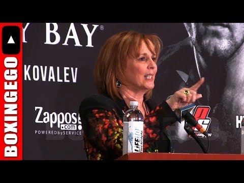 """KATHY DUVA YELLS AT BOOING CROWD TELLS THEM TO """"SHUT UP"""" AFTER SERGEY KOVALEV LOSS TO WARD"""