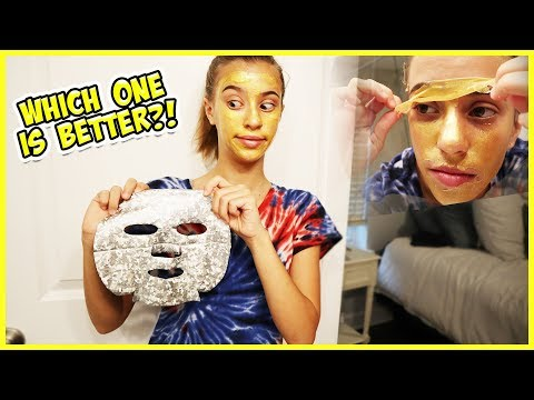 24 KARAT GOLD FACE MASK VS UNICORN HOLOGRAM GLOW MASK!