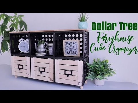 DOLLAR TREE DIY Farmhouse Cube Organizer