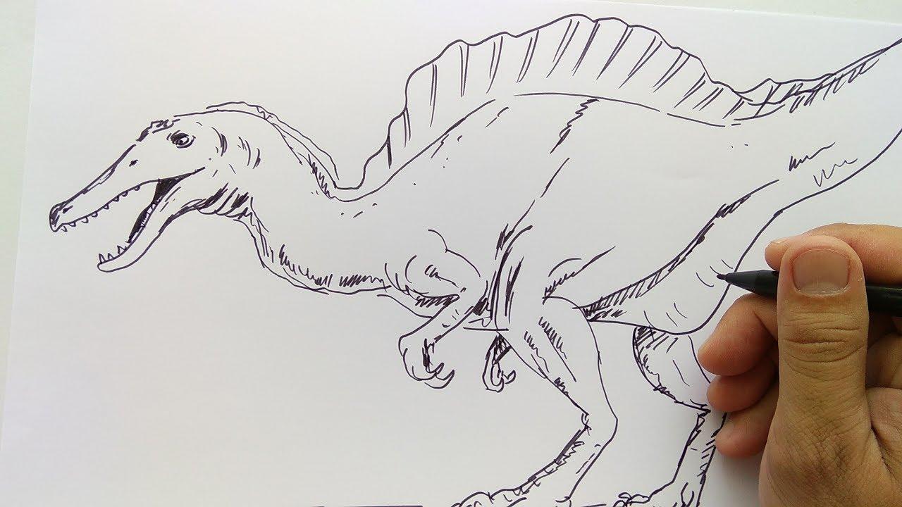 Cara Menggambar Dinosaurus Buas