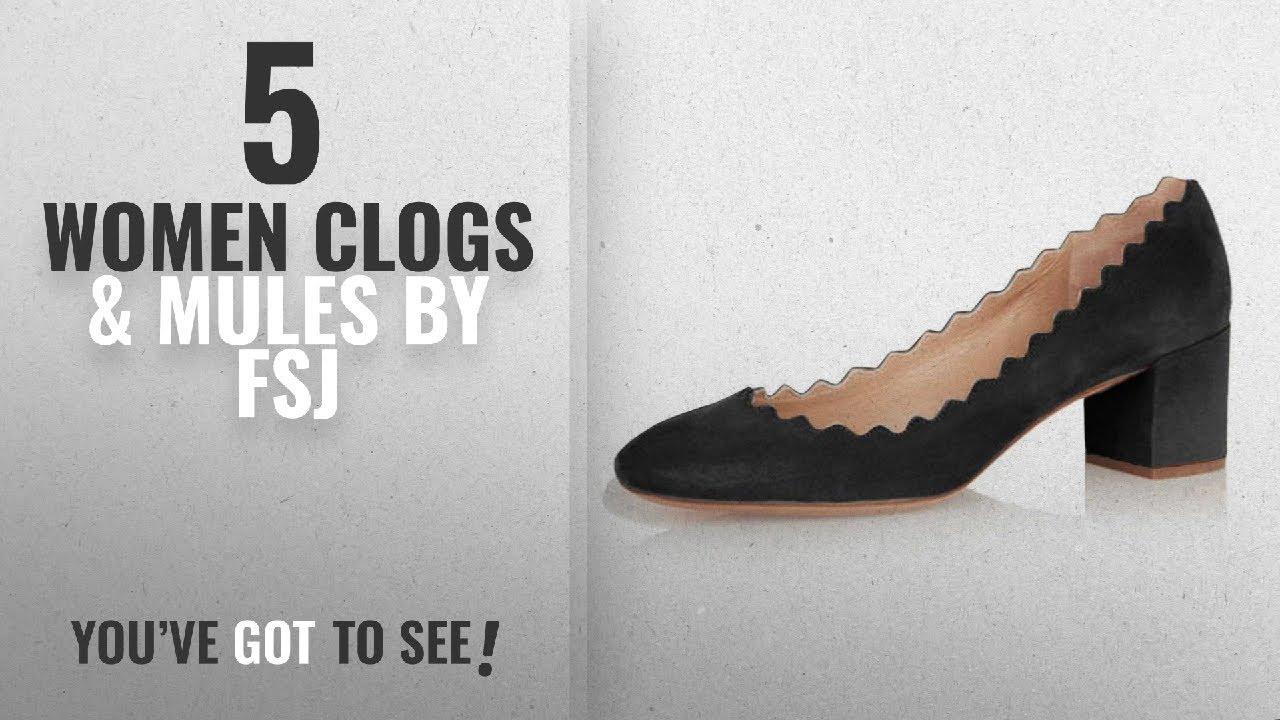 02005de45d553 Top 5 Fsj Women Clogs & Mules [2018]: FSJ Women Vintage Round Toe Wavy Block  Heels Comfy Suede Slide