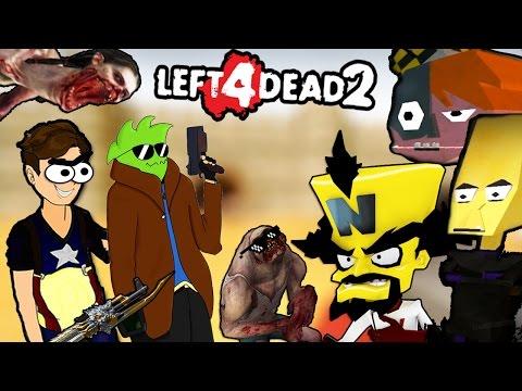 ZOMBIES A MONTONES & ENEMIGOS FEOS Y LOCOS :v - Left 4 Dead 2 con LECHU Mapa Crash Bandicoot #2