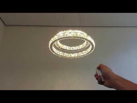 Lustre de cristais em Led com dois anéis grandes e ajuste de tons - Espiral Review from YouTube · Duration:  46 seconds