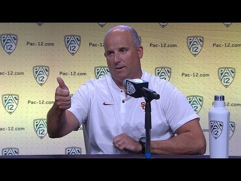 2018 Pac-12 Football Media Day: USC's Clay Helton podium session