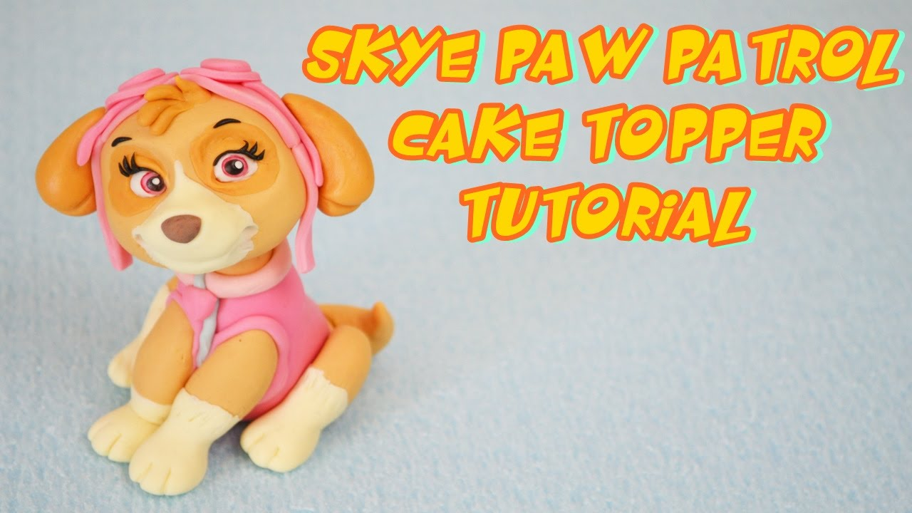 SKYE PAW PATROL CAKE TOPPER FONDANT TUTORIAL - YouTube