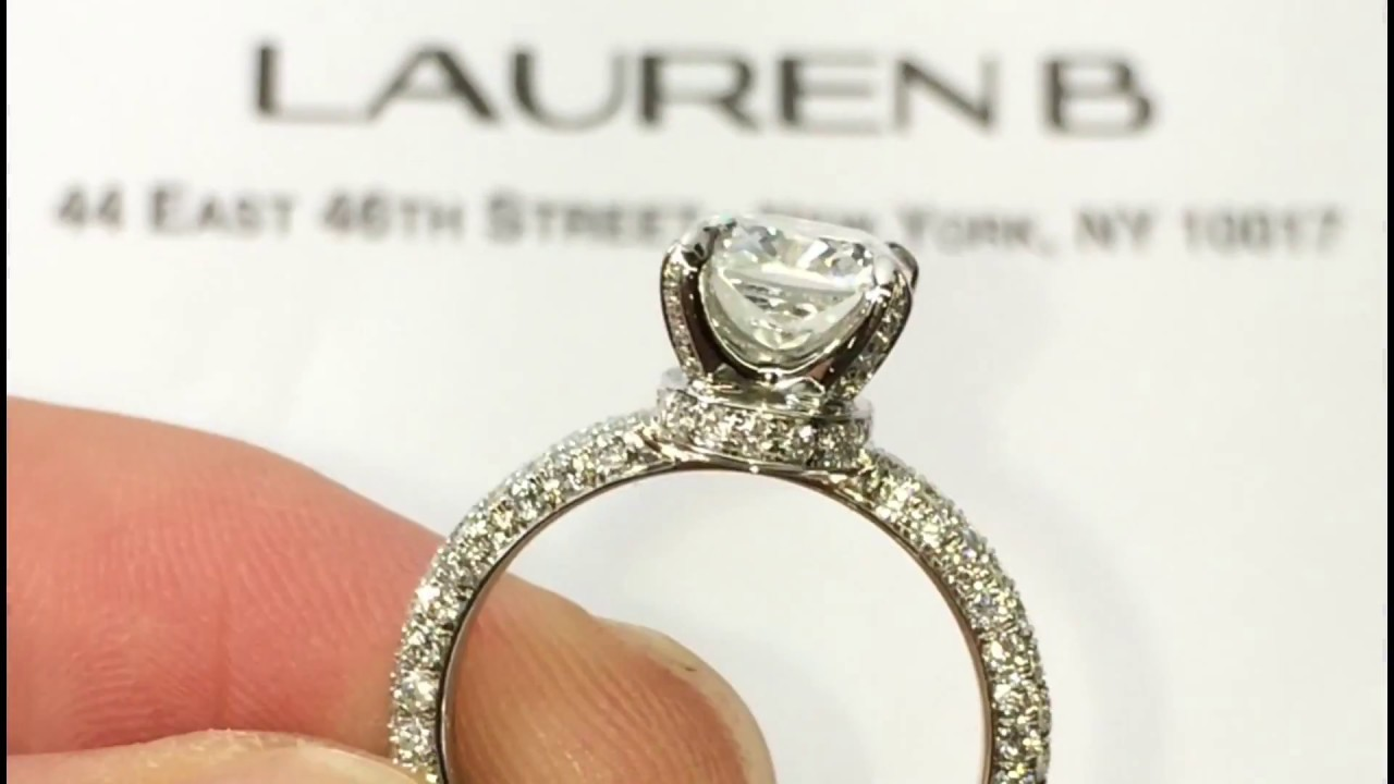 200 Carat Cushion Diamond Engagement Ring In 3 Row Pave Band  Youtube