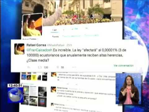 Presidente Rafael Correa mediante su cuenta de Twitter habla sobre Ley de Herencias
