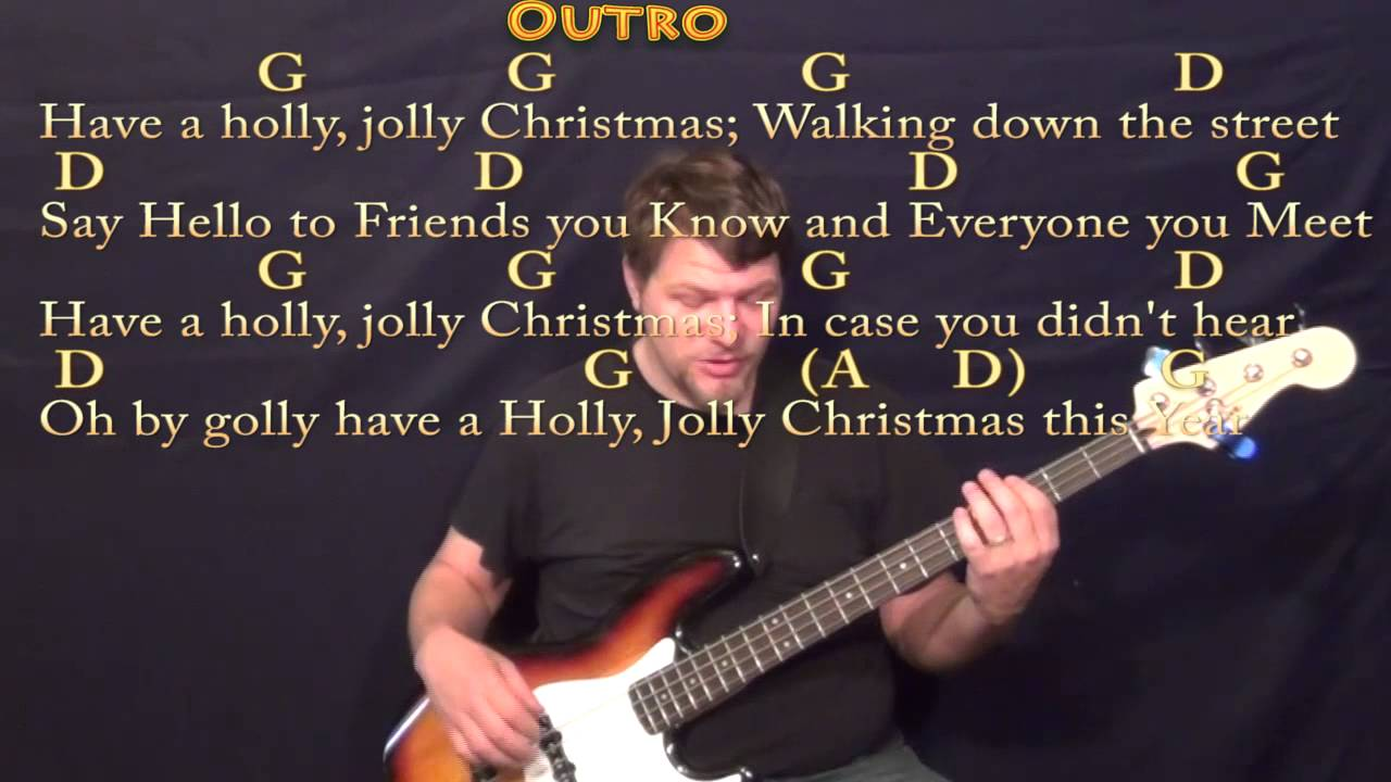 Holly Jolly Christmas Christmas Bass Guitar Cover Lesson In G With