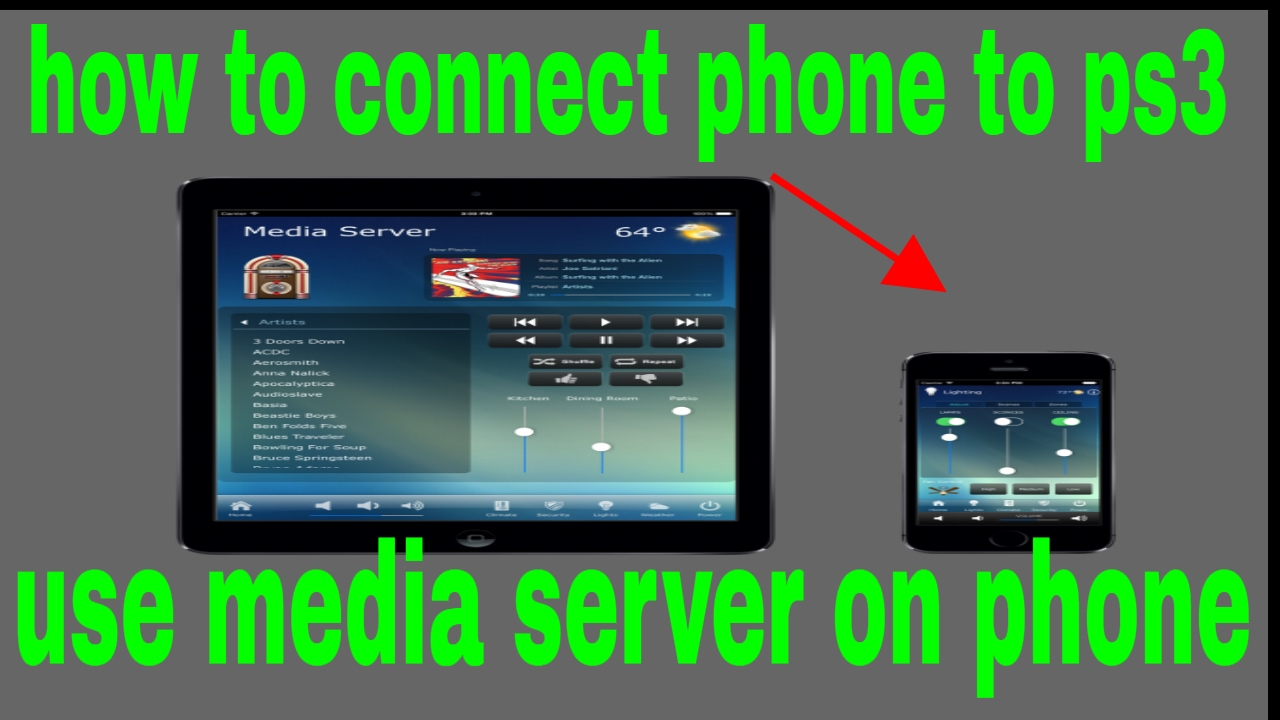 how to connect phone to ps3 use media server