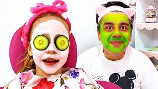 ناستيا تتظاهر باللعب في صالون تجميل مع والدها