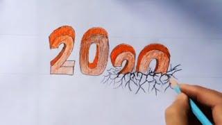 "Happy New year 2020 How to draw Number 2020 trick Art เคล็ดลับ ในการเขียนตัวเลขปี 2020 "" 3มิติ"