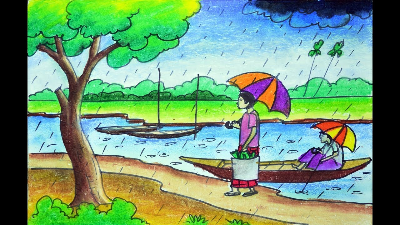 How to draw Rainy season scenery, Rainy days scenery ... Rainy Day Drawing Competition