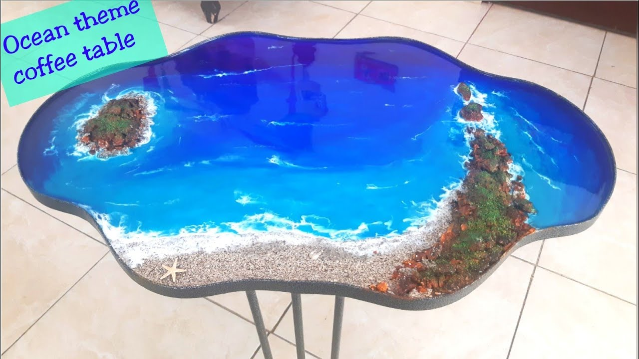 how to make epoxy resin coffee table ocean theme resin coffee table