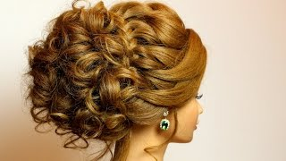 Bridal hairstyle for long medium hair tutorial. Romantic updo with braid