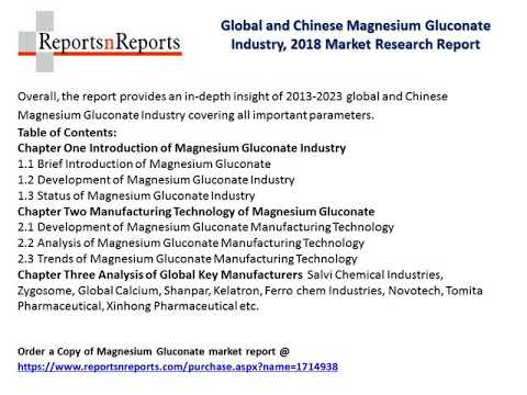 Magnesium Gluconate Market Research Report 2018 Current Market Status, Share And Competition