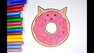 Как рисовать котёнка.  Рисуем кота пончик, простое рисование
