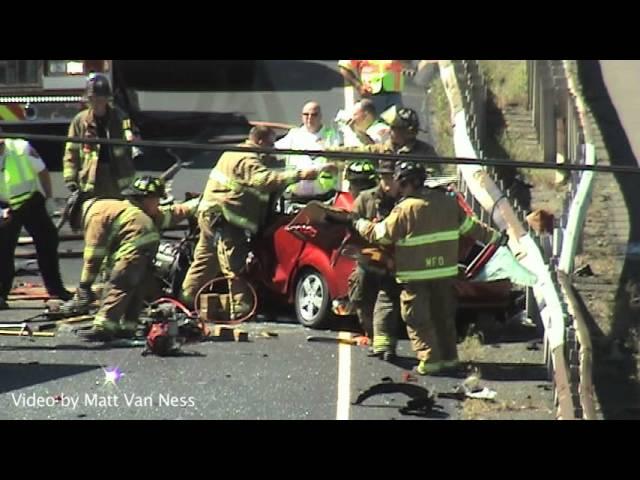 I-91 Northbound   MVA Wrong Way Car vs. Truck, Cars   Extrication and LifeStar