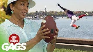 Flying Football Catch Fail
