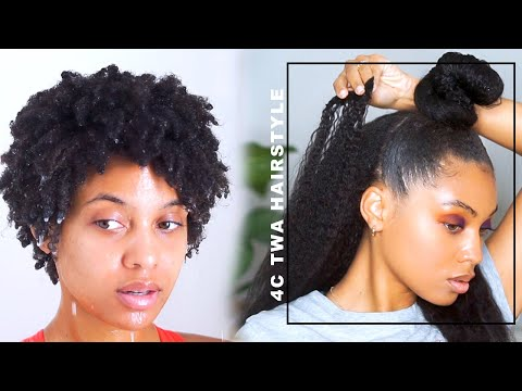 How To: Heatless Blowout 4c Natural Hairstyle CLIP INS Half up Half down  BETTER LENGTH HAIR J MAYO thumbnail