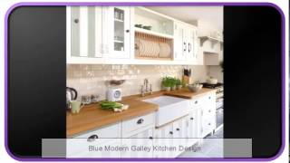 Blue Modern Galley Kitchen Design