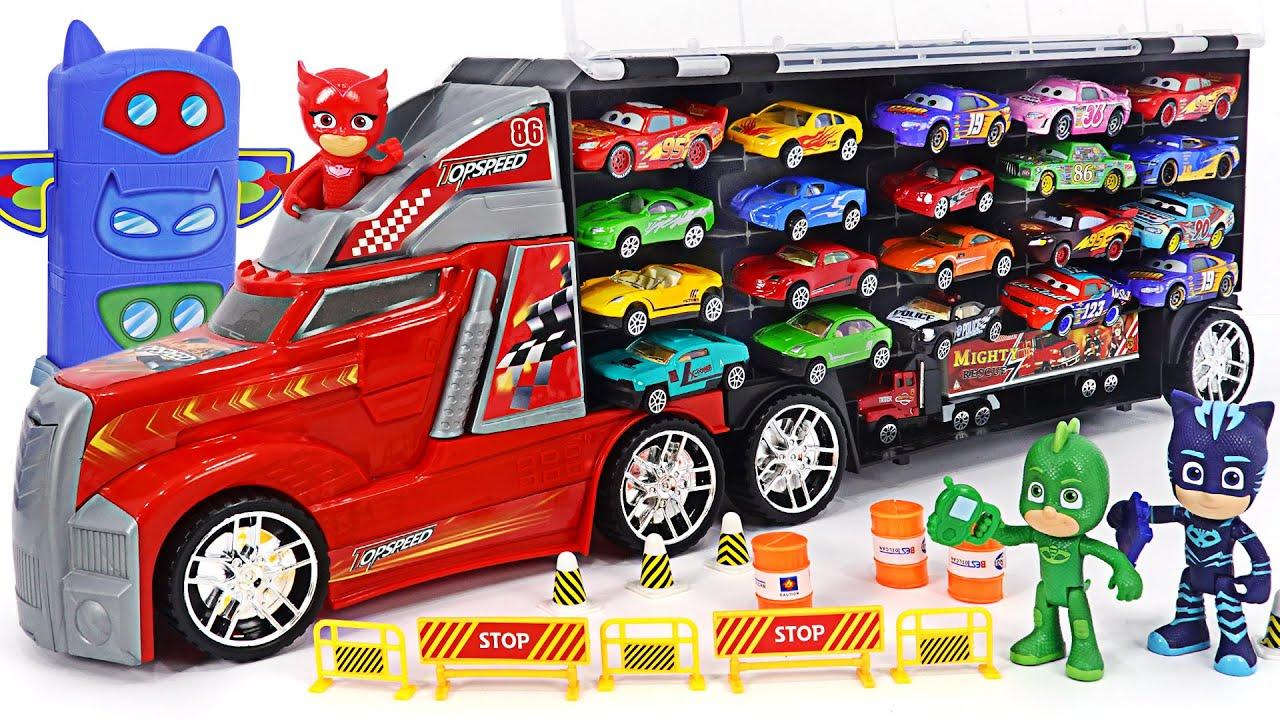 Boring~! PJ Masks! Let's race in a minicar on a huge big carrier car!