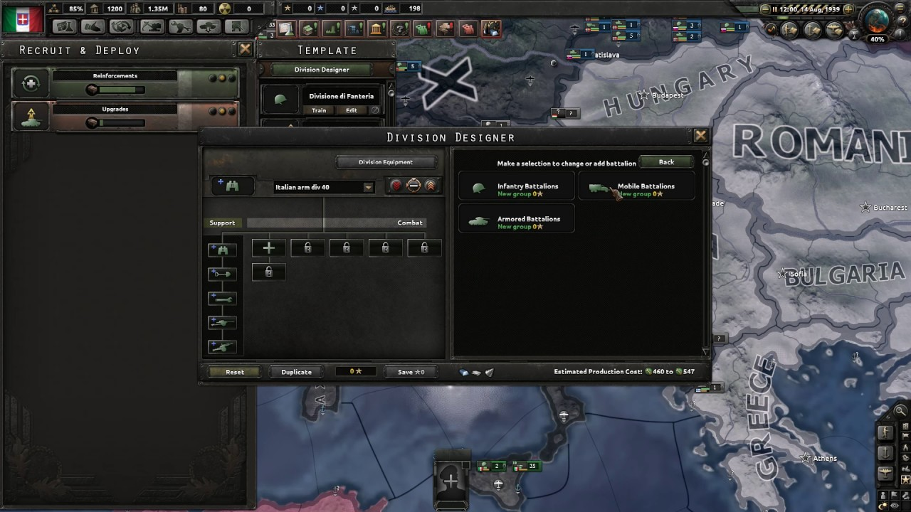 Hearts of Iron 4 - Italian Tank Division Historical Template