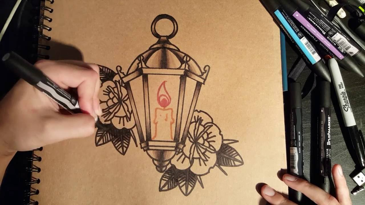 How to Draw an Old School Lantern by thebrokenpuppet - YouTube