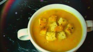 Тыквенный суп-пюре с курицей и сухариками