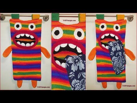 Crochet Tutorial: Munching Monster Laundry Bag