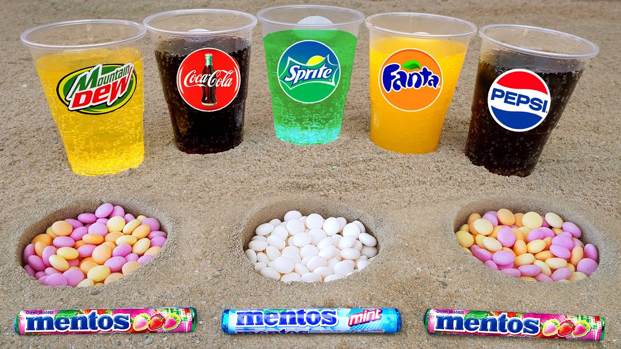 Cola, Different Fanta, Pepsi,Sprite and Stretch Armstrong vs Mentos in 3 Big Volcano Underground