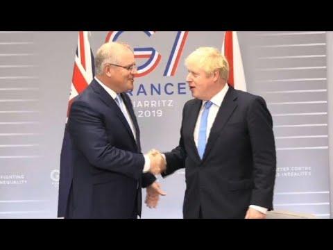 G7: UK PM Boris Johson meets Australian PM Morrison   AFP
