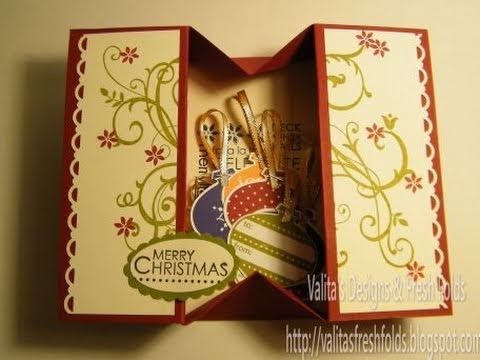 Making a simple box card youtube for How to make folded christmas cards