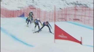 Sweden's Alexandra Edebo crashes hard at Val Thorens World Cup ski cross race