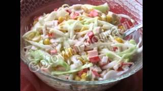 Рецепты салатов:Салат из капусты с крабовыми палочками