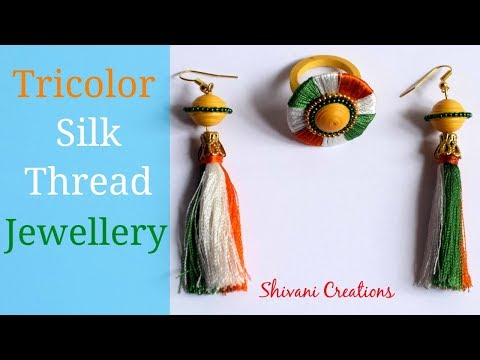 Tricolor Silk Thread Jewellery/ How to make Silk Thread Earrings and Silk Thread Finger Ring