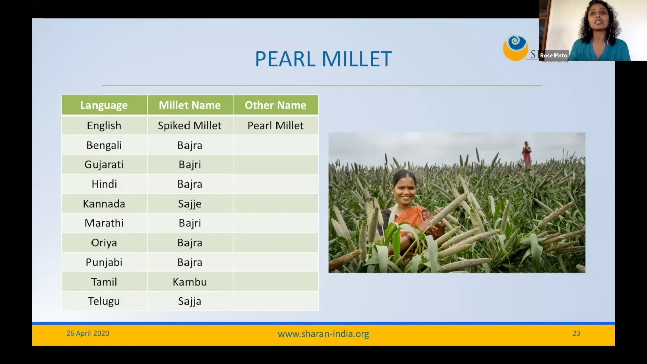 Millets - The Need of the Hour | Rose Pinto | SHARAN