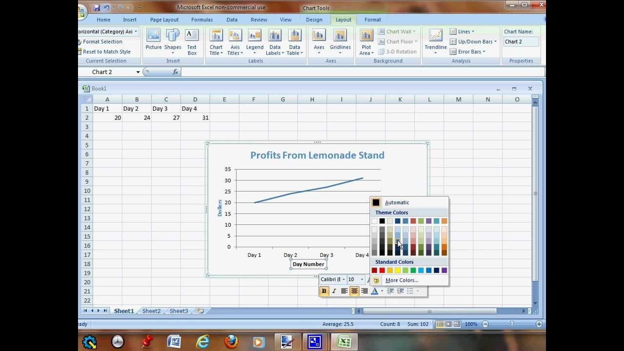 how to create line graph in excel without sparklines